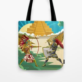 european knight fighting an aztec warrior in the jungle Tote Bag