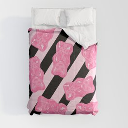 Jelly Beans & Gummy Bears Pattern - Pink and Black Comforters