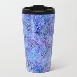 Cerulean and Mauve Handmade Abstract Background Travel Mug