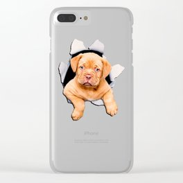 Puppy escaping from the hole Clear iPhone Case