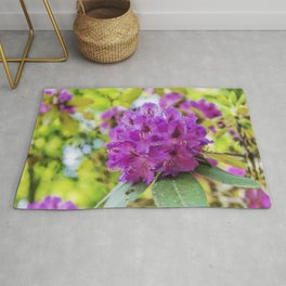 beautiful flowers in the rhododendron park Rug