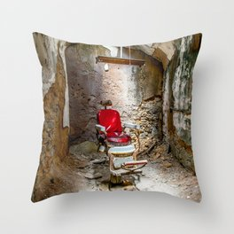 At the Barbershop Throw Pillow