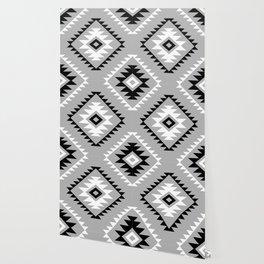 Aztec Style Motif Pattern Monochrome Wallpaper