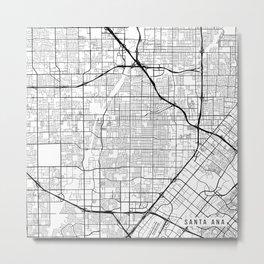 Santa Ana Map, USA - Black and White Metal Print