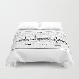 Riga 1544 (black on white) Duvet Cover