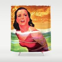 bondage Shower Curtains featuring Beach Blanket Bondage by sasha alexandre keen