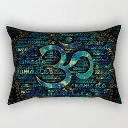 Namaste Word Art in Lotus with OM symbol Rectangular Pillow