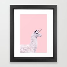UNICORN LLAMA Framed Art Print