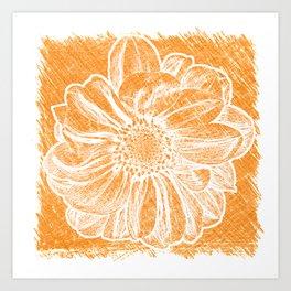 White Flower On Warm Orange Crayon Art Print
