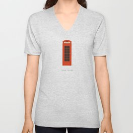 London, England | Red Phone Booth Unisex V-Neck