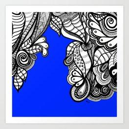 Blue Royal Doodle Art Print