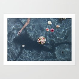 Bouquet and Bride Floating Art Print