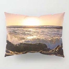 Wave splash against pink sunset - Landscape Photography Pillow Sham