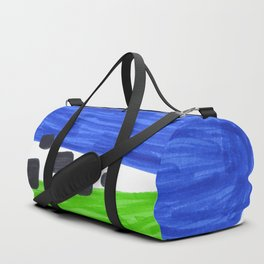 Lime Green Blue Mid Century Modern Abstract Minimalist Art Colorful Shapes Vintage Retro Style Duffle Bag