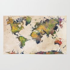 World Map green splash Rug