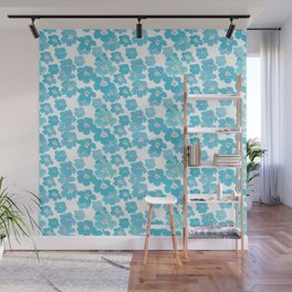 Camellia Flowers in Blue Pattern Wall Mural