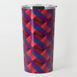 Braid of bright pink squares and triangles in blue. Travel Mug