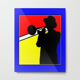 Jazz trombone player silhouette mondrian colors Metal Print