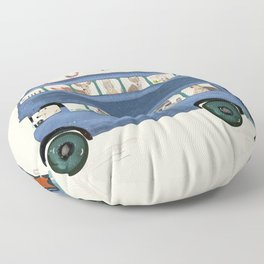 the big blue bus Floor Pillow