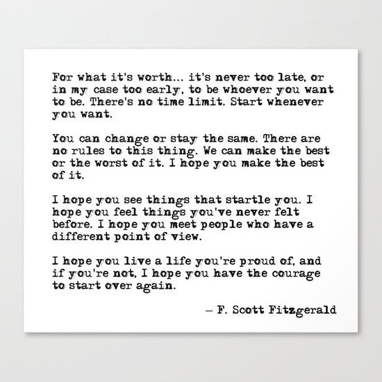 For What Its Worth F Scott Fitzgerald Quote Canvas Print By