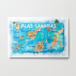 Canary Islands Illustrated Travel Map with Majorca Ibiza Menorca Landmarks and Highlights Metal Print