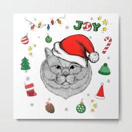 Merry Christmas British Cat Metal Print