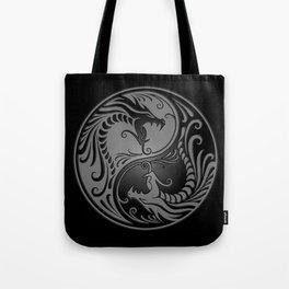 Gray and Black Yin Yang Dragons Tote Bag