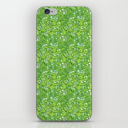 Funny green frogs entangled in a messy pattern iPhone Skin