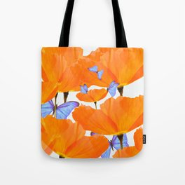 Poppies And Butterflies White Background #decor #society6 #buyart Tote Bag