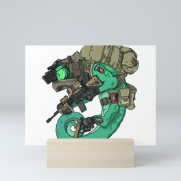 Chameleon Special Force Military with guns gift ideas Mini Art Print