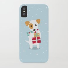 Cute Christmas dog holding a stack of gifts iPhone X Slim Case