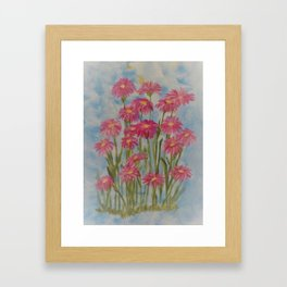 Asters Acrylic Floral Painting by Rosie Foshee for wall decor, and to share by stationary & stickers Framed Art Print