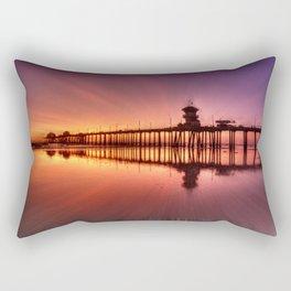 Sunset In Motion Huntington Beach Pier * Photo: Steve Berger Rectangular Pillow