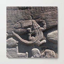 Prasat Bayon Crocodile relief Metal Print