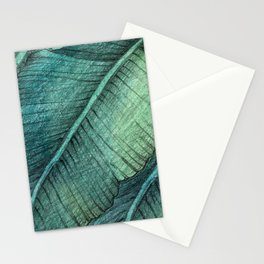 Banana leaf hand drawn texture / in color. Stationery Cards