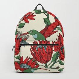 Protea with Hummingbird / Sunbird (Cream) Backpack