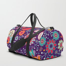 Colorful khokhloma flowers pattern Duffle Bag