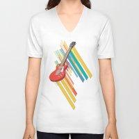 guitar V-neck T-shirts featuring Guitar by Pedro Alvarez