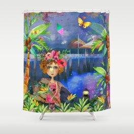 Strand Pier Watercolour Shower Curtain