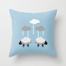 Wooly weather - Sheep Rain Clouds Throw Pillow