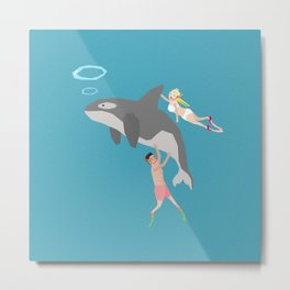Swim with dolphin Metal Print