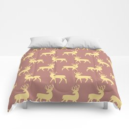 Mid Century Modern Deer Pattern Dusty Brown and Yellow Comforters