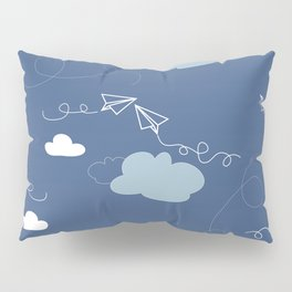 Take flight Paper planes in Blue Pillow Sham