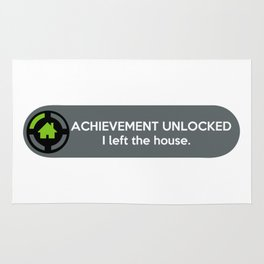 """""""ACHIEVEMENT UNLOCKED: I left the House"""" Funny Quote Rug"""