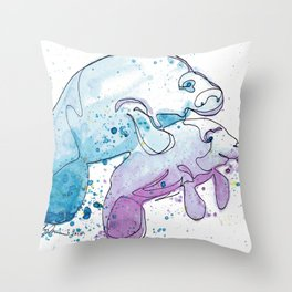 Manatee Mommy with Her Baby Throw Pillow