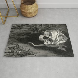 Skull Crowned with Snakes and Flowers by Henry Weston Keen Rug