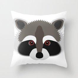 Raccoon Face Throw Pillow