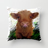 cow Throw Pillows featuring cow by Vector Art