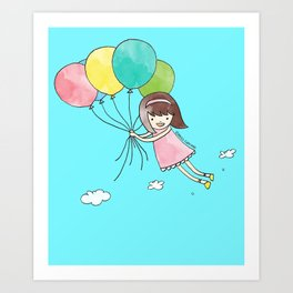 Miss Cupcake Flying with Balloons Art Print