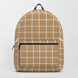 Fallow - brown color - White Lines Grid Pattern Backpack